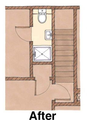 Finding space under the stairs: Bath after plan