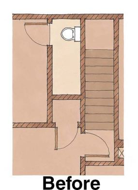 Finding space under the stairs: Bath before plan