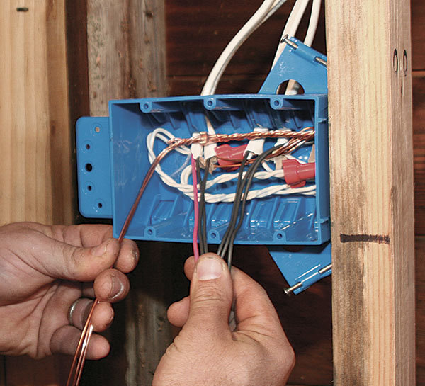 and cap them with a wire nut or crimping sleeve  make sure there's a  4-in -long length of wire (a pigtail) for every grounded switch in the box