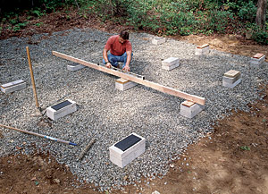 Solid-concrete blocks are ideal for building on-grade foundations.