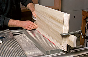 Adjust the tablesaw's bevel angle to 15°