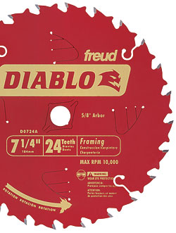 Freud's Diablo 24-tooth framing blade (D0724X)