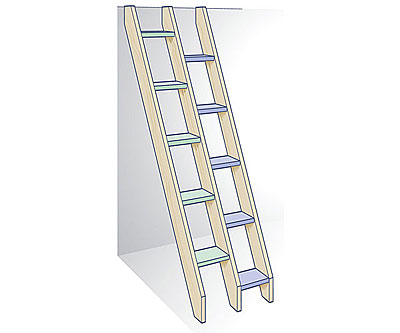 Alternating-tread ladder stairs